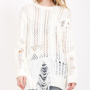 Sweaters - Long Sleeve Distressed Sweater